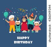 children. celebration. birthday.... | Shutterstock .eps vector #436049344