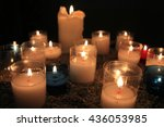 votive candles  burning in a... | Shutterstock . vector #436053985