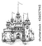 vector castle front view.... | Shutterstock .eps vector #436057945