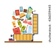 open suitcase with things for... | Shutterstock .eps vector #436059445