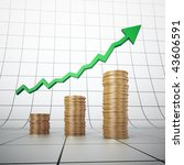 golden coin stacks with a graph | Shutterstock . vector #43606591