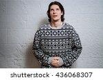 stomach pain in men   Shutterstock . vector #436068307