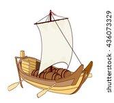wooden sailing boat. vector... | Shutterstock .eps vector #436073329