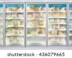 frozen food in supermarket... | Shutterstock . vector #436079665