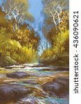 Landscape Painting Of Creek In...