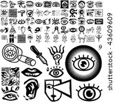 eyes set of black sketch. part... | Shutterstock .eps vector #43609609