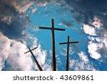 Three Crosses Above Blue Sky...