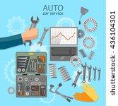 car service mechanic tool box... | Shutterstock .eps vector #436104301