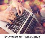 man's hands typing on laptop... | Shutterstock . vector #436105825