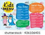 colorful kids meal menu vector... | Shutterstock .eps vector #436106401