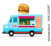 fast food trailer with burger... | Shutterstock .eps vector #436110397