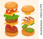 burger isolated set   vector