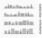 outline buildings and trees in... | Shutterstock .eps vector #436120624