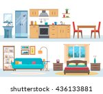 apartment inside. detailed... | Shutterstock .eps vector #436133881