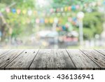 empty wooden table with blurred ... | Shutterstock . vector #436136941