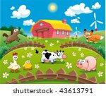farm illustration. funny... | Shutterstock .eps vector #43613791