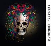 hand drawn skull | Shutterstock .eps vector #436147861