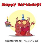 happy red monster celebrates... | Shutterstock .eps vector #43614913