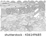 lighthouse and shells  seascape.... | Shutterstock .eps vector #436149685
