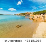 golden shore in porto cervo ... | Shutterstock . vector #436151089