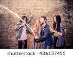 group of friends uncorking... | Shutterstock . vector #436157455