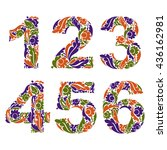 beautiful floral numbers ...   Shutterstock .eps vector #436162981