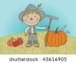 Hardworking Scarecrow. Vector...