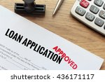 approved loan application with... | Shutterstock . vector #436171117
