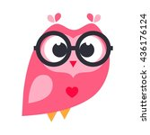 pink cartoon owl with glasses | Shutterstock .eps vector #436176124