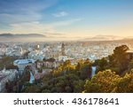 aerial view of malaga in sunset ... | Shutterstock . vector #436178641
