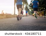 blurred or de focus man jogging ... | Shutterstock . vector #436180711