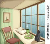 vector illustration of a cozy... | Shutterstock .eps vector #436192834