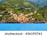 Beautiful look of Riomaggiore, a village in province of La Spezia, Liguria, Italy. It's one of the lands of Cinque Terre, UNESCO World Heritage Site - stock photo