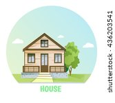 colorful rural house. flat... | Shutterstock .eps vector #436203541