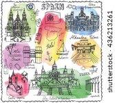 spain doodle landmarks.vector... | Shutterstock .eps vector #436213261