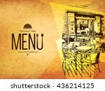 Restaurant menu design. Vector menu brochure template for cafe, coffee house, restaurant, bar. Food and drinks logotype symbol design. With a sketch pictures and crumpled vintage background | Shutterstock vector #436214125
