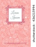 vector card template with cute... | Shutterstock .eps vector #436215994