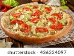 mozarella and tomato pizza... | Shutterstock . vector #436224097