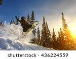 jumping snowboarder on... | Shutterstock . vector #436224559