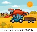 combine harvester and tractor... | Shutterstock .eps vector #436228354