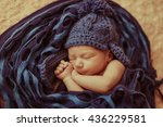 cute boy sleeping in a warm cap | Shutterstock . vector #436229581