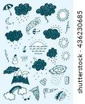 weather hand drawn set | Shutterstock .eps vector #436230685