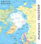 arctic region political map... | Shutterstock .eps vector #436235509
