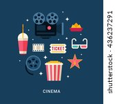 cinema concept illustration.... | Shutterstock .eps vector #436237291