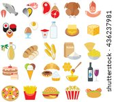 set of food icons isolated... | Shutterstock .eps vector #436237981