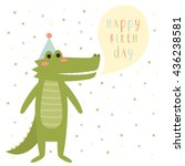 birthday card template with... | Shutterstock .eps vector #436238581