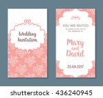wedding cards set. romantic... | Shutterstock .eps vector #436240945