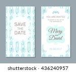 wedding cards set. romantic...   Shutterstock .eps vector #436240957