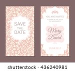 wedding cards set. romantic... | Shutterstock .eps vector #436240981