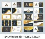 set of creative golden business ... | Shutterstock .eps vector #436242634